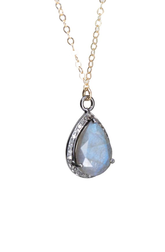 Labradorite Teardrop Pendant Necklace with Diamonds and Mixed Metal
