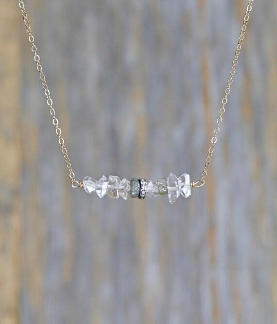 quartz crystal Herkimer Diamond Pave Diamond Raw Rough Diamond Bar Necklace Yellow Gold Gift For Her genuine pave diamond genuine Herkimer
