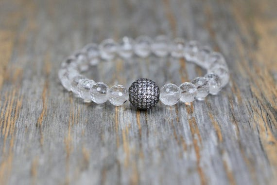 herkimer diamond bracelet pave herkimer diamond and rock crystal large clear gemstone boho stack bracelet sterling silver crystal gemstone