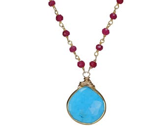 RUBY necklace turquoise Pendant necklace gift for her gold ruby turquoise pendant July birthstone December birthstone