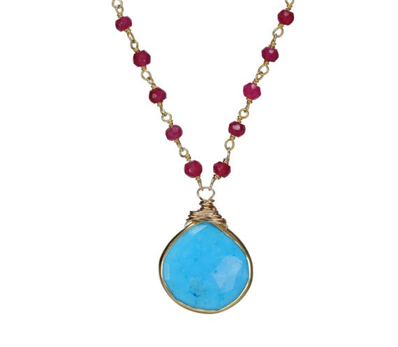 Ruby Turquoise Pendant Necklace