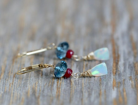 London Blue topaz Ruby and Natural Opal Gemstone Drop Earrings*Gem Quality Ethiopian Opals*December Birthstone Gift Idea for Her Women's