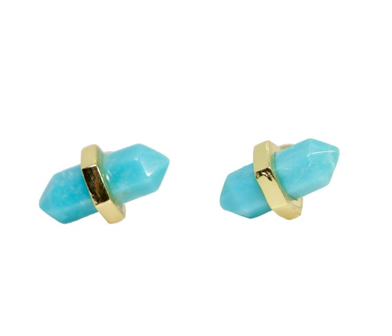 Blue Green Amazonite Stud Earring- Genuine Gemstone- Turquoise Color-Women's Jewelry Gift Idea