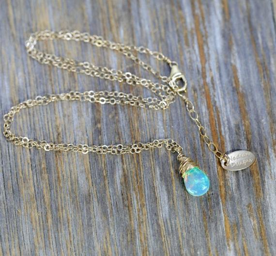 Pear Green Ethiopian Welo Opal Pendant Necklace- Genuine Opal Gemstone- Women's Jewelry Holiday Gift Idea- Stocking Stuffer