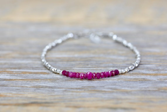 ruby bracelet silver beaded bracelet gifts for her girlfriend gift Longido ruby boho stack bracelet hill tribe silver July birthstone mom