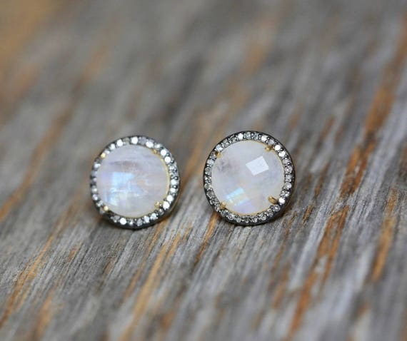 Moonstone Pave Diamond Round Stud Earring * Large Moonstone Circle Post *Oxidized Sterling Silver and Gold* genuine Diamond* Halo diamond