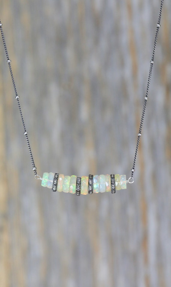 OPAL NECKLACE October birthstone Ethiopian Welo Opal Gemstone Bar Necklace Diamond white opal natural opal sterling silver oxidized