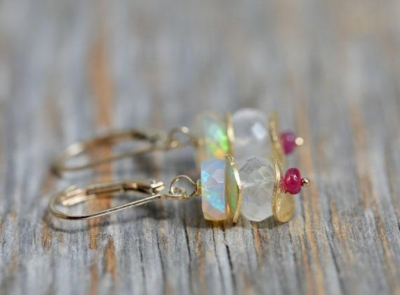Opal Ruby Moonstone Earrings