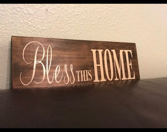 Bless this home rustic sign