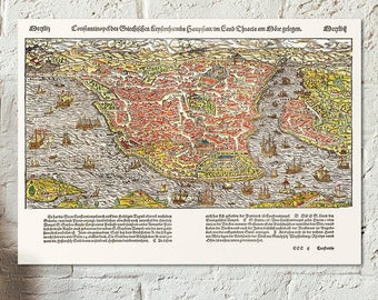Old map of Constantinople - Istanbul - Turkey - from Cosmographia Ca. 1570