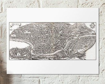 Old map of Rome from 1641 -  Roman map SPQR - Antique Roma map - vintage Style Wall Hanging - Birdview citymap - vintage rome