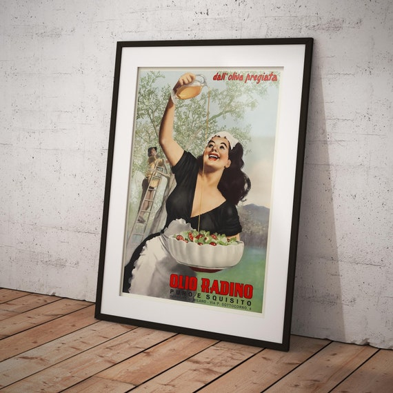 Italy Olio Radino Olives Vintage Grocery and Confectionery Poster 1950