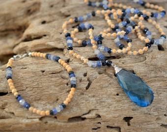 SAPPHIRE MALA & BRACELET ॐ Sapphire, Rudrani, Quartz mala, Prayer Beads, Meditation, Yoga, Necklace, Tassel, Handmade