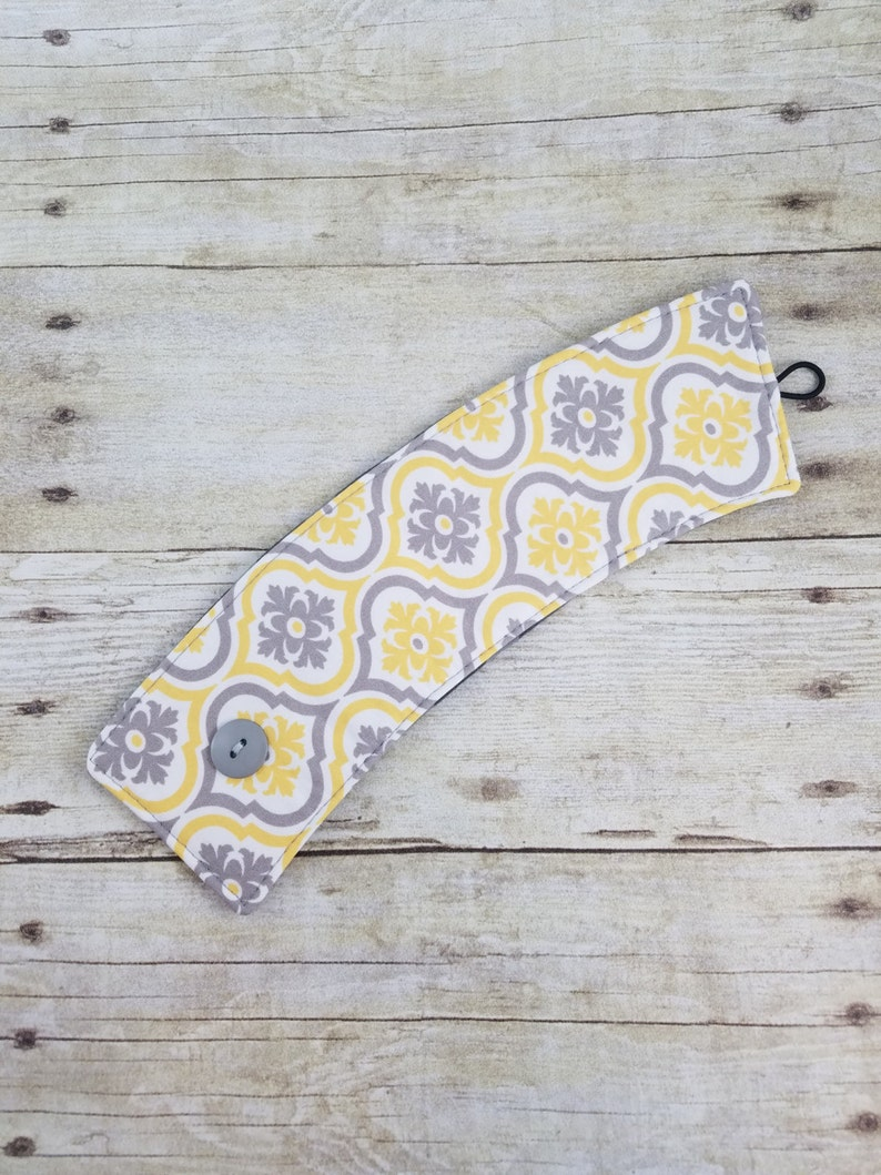 Yellow and Gray Fabric Fabric Coffee sleeve Reusable cup image 0