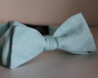 Teal Polka Dot Bow Tie