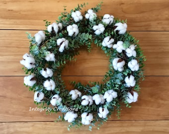 Cotton Eucalyptus Farmhouse Wreath