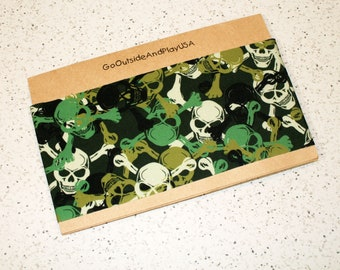 Yoga Headband - Renegade Print - Running Workout Wide Fitness Boho Spandex - Skull Crossbones Pirate Green - Womens Headband
