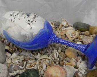 Blue Mermaid Wine Glass - Hand Painted - Ocean Themed