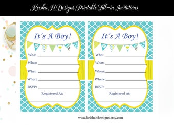 Baby shower fill in invitations etsy nz its a boy baby shower invitation fill in baby shower invitation mother to be invite blue baby shower yellow baby shower twins baby filmwisefo