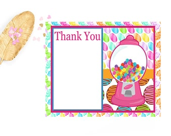 Candy Themed Birthday Thank You Printable Stationery Notecard, Sweet Shoppe Candy Baby Shower, Candy 1st Birthday,  Candy 10th Birthday,