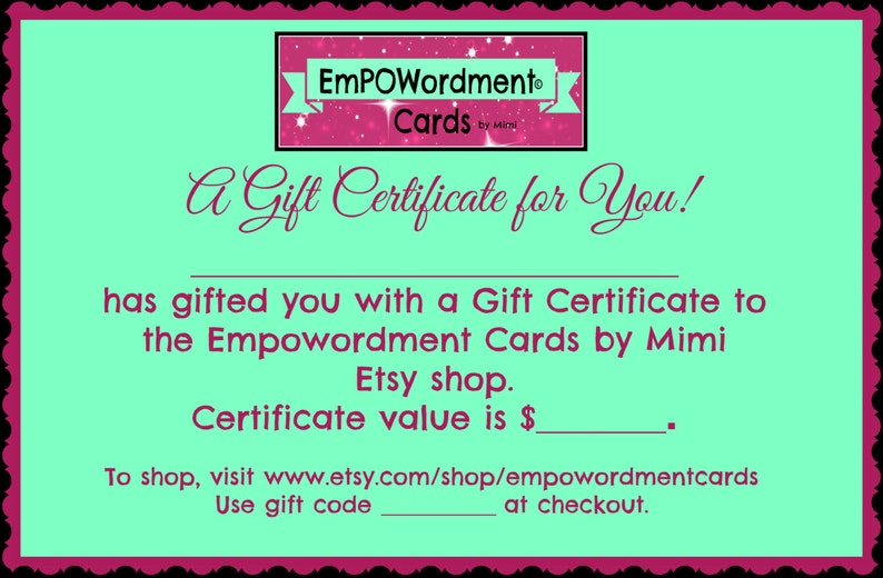 Gift Certificate Mothers Day Birthday Gifts Under