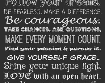 Be true to who you are Note Cards~know your own heart~follow your dreams~be courageous~positive quote~encouragement~make every moment count