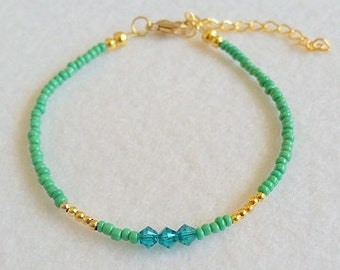 Green anklet with green Austrian crystals