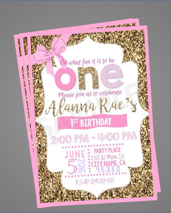 Pink And Gold First Birthday Invitation Glitter Girl