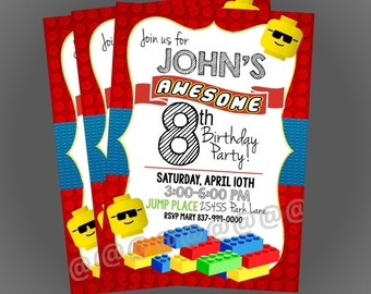 Lego Birthday Invitation, Lego Birthday, Boys Birthday, Lego Theme
