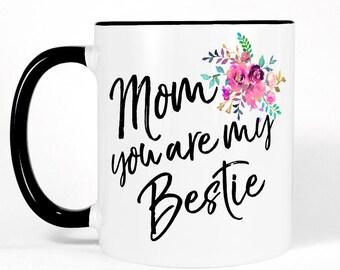 Cute Mom Gift | Mother Daughter Gift | Gift for Mom | Mom Birthday Gift | Mom Coffee Mug-White Black Pink Floral Mug | Mother Gift | Mom Mug