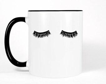Eyelashes Mug | Makeup Mug | Lashes Mug | Eyelash Mug | Lashes Decor | Black and White Coffee Mug | Girly Gift