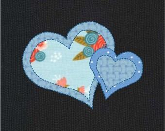 Two hearts applique etsy