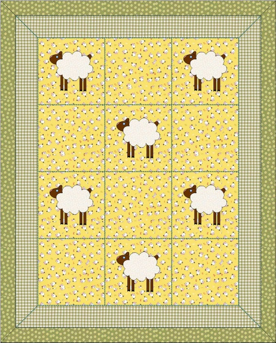 Instant Pattern Pdf Counting Sheep Quilt Lamb Simple Etsy