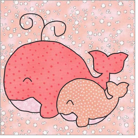 mama and baby whales applique pattern applique pattern quilt etsy