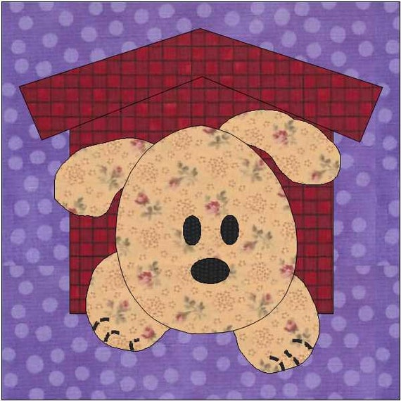 Puppy Dog Quilt Block Pdf Download Instant Download Etsy