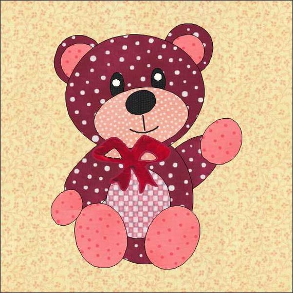 Teddy Bear Pattern Bear Pattern Bear Quilt Block Instant Etsy