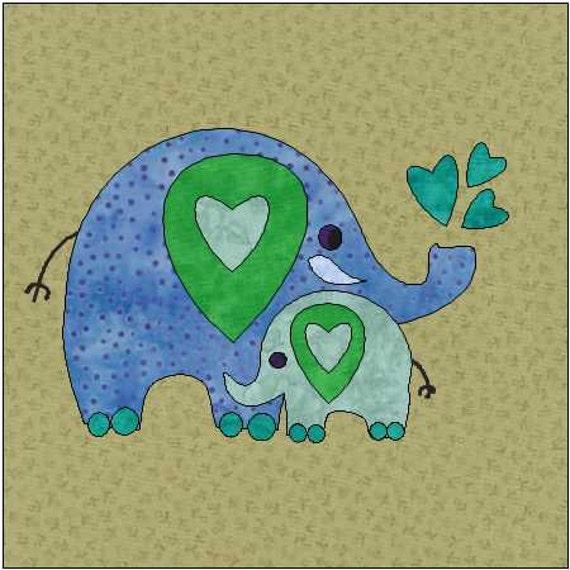 Elephant Pattern Jungle Quilt Block Quilt Appliqu 233 Etsy