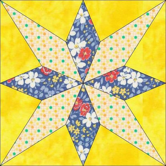 My Star Pattern 6 Inch Block 12 Inch Block Instant Etsy