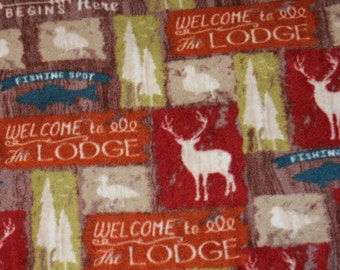 Lodge Theme Fleece Tie Blanket