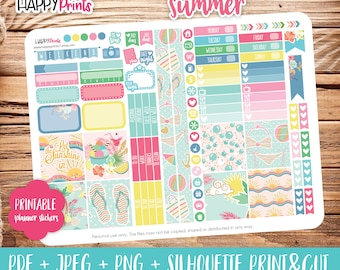 Summer Printable Weekly kit Stickers, Personal Planner Stickers, for Personal Size Planner.
