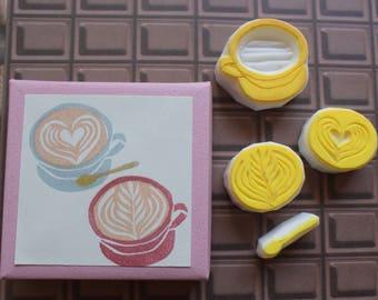 Latte Art Stamp Set, Cafe Latte Stamps, Coffee Stamps
