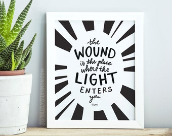 "Rumi Quote, Rumi Art, Rumi Poster, Motivational Poster, Wall Art Livingroom ""The wound is the place where the light enters you"""
