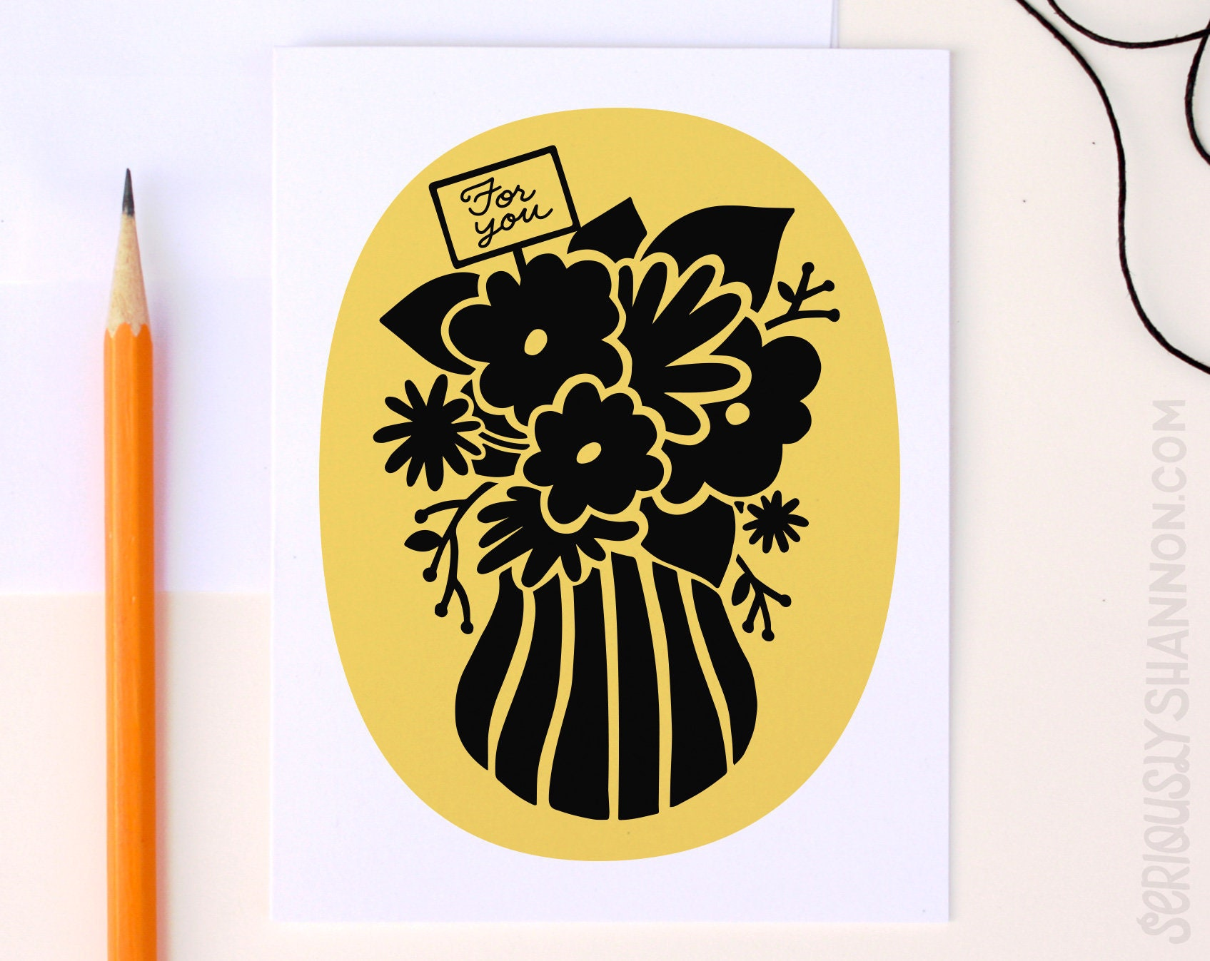 Yellow And Black Flowers Card Gift Card Greeting Card Etsy