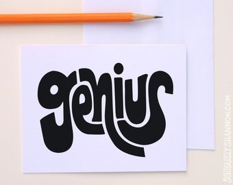 Genius Typographic Card, A2 Greeting Card