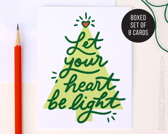 Cute Christmas Cards Christmas Tree Card Classic Holiday Etsy