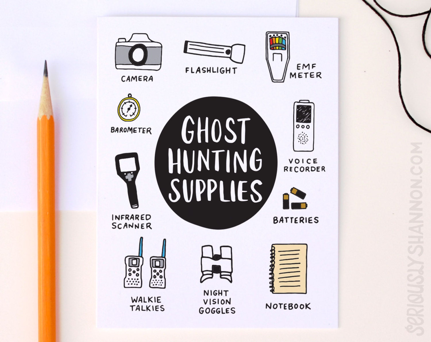 Funny Halloween Card Ghost Hunting Supplies A2 Greeting Card Etsy