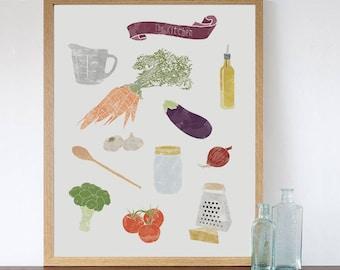 Illustrated Print - The Kitchen