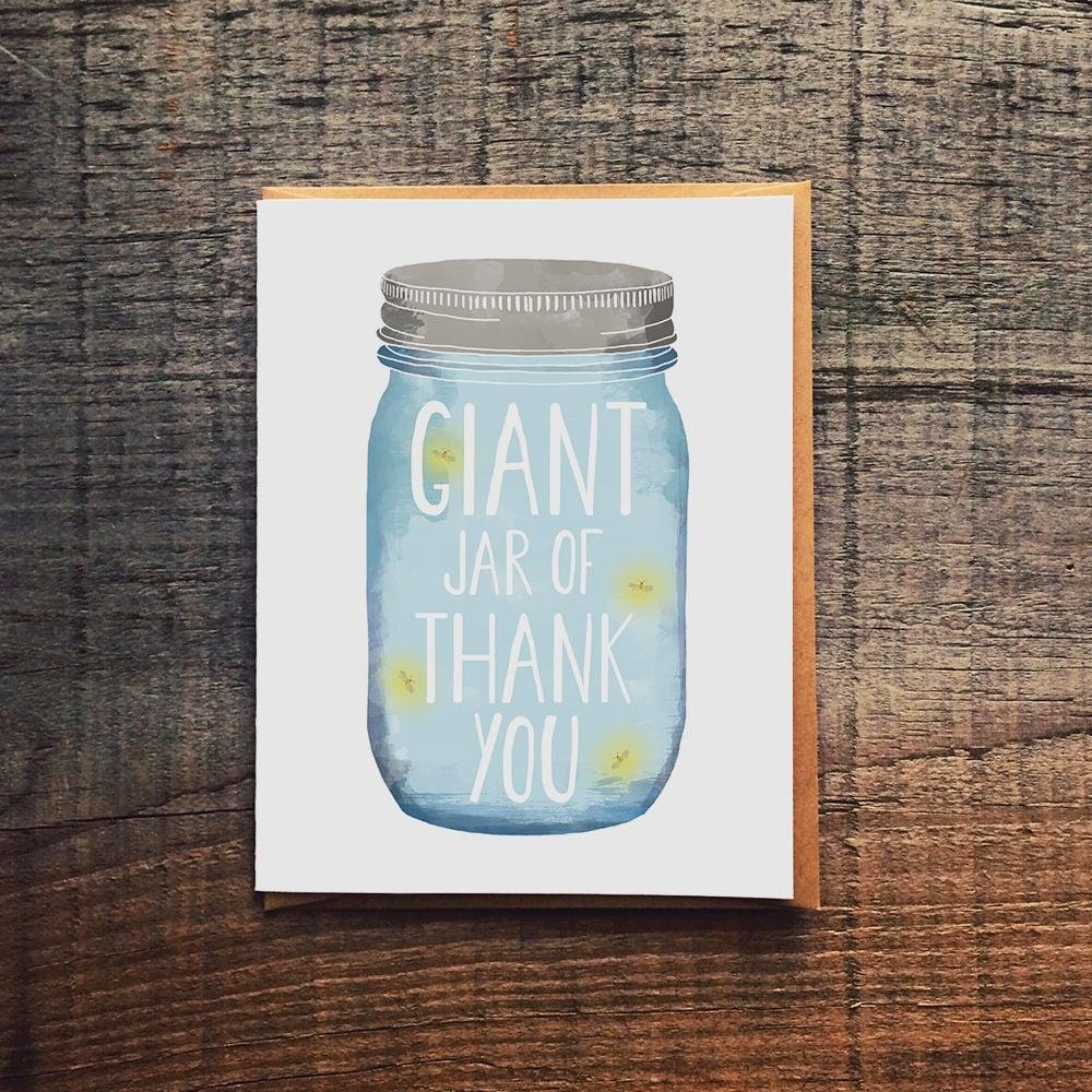 Giant Jar Of Thank You Mason Jar Fireflies Thank You Card Etsy