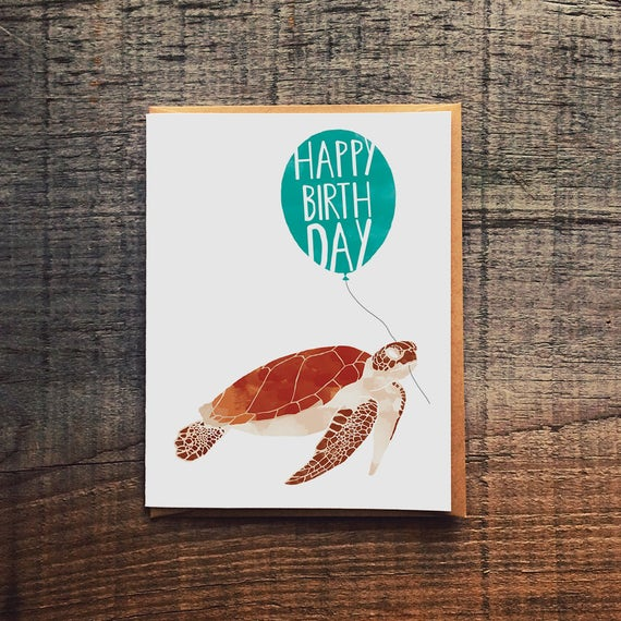 Sea Turtle Birthday Card Etsy