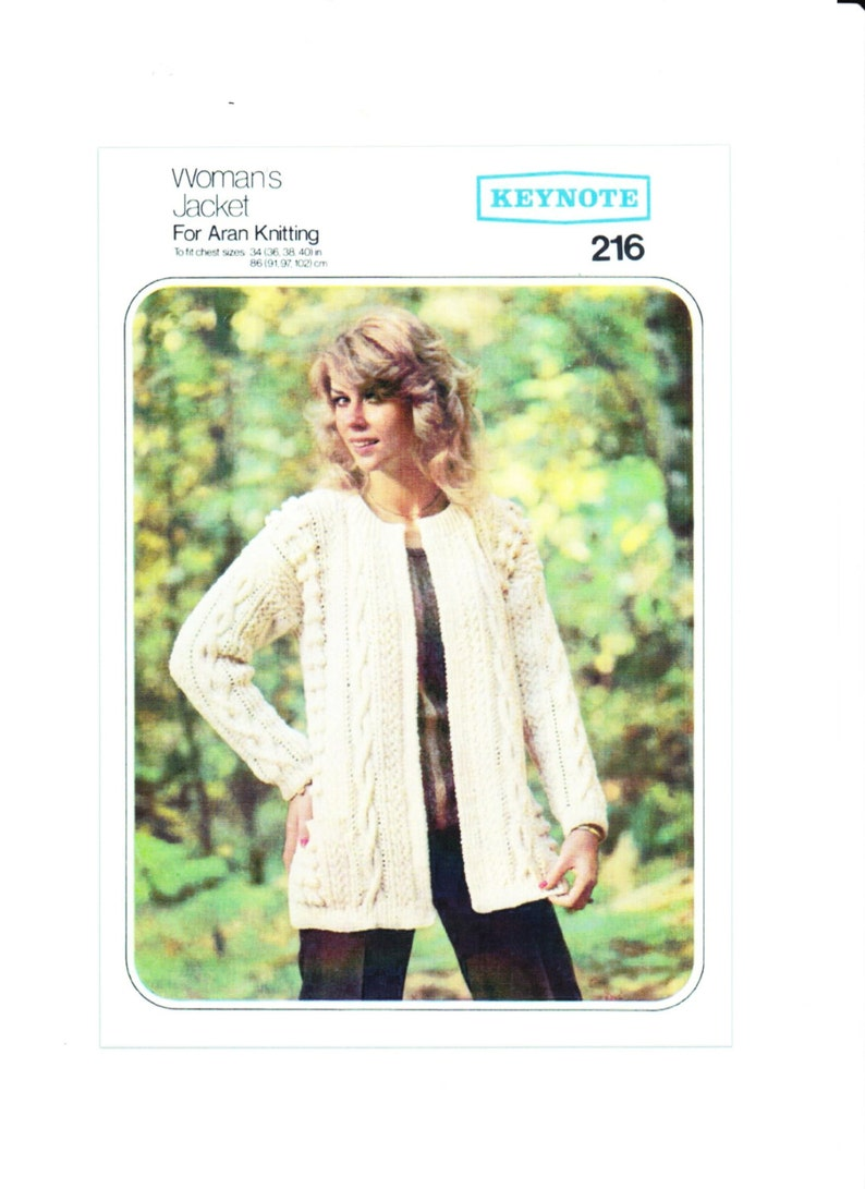 a23a924e7ffd90 PDF Vintage Knitting Pattern. Women s Cable Jacket for